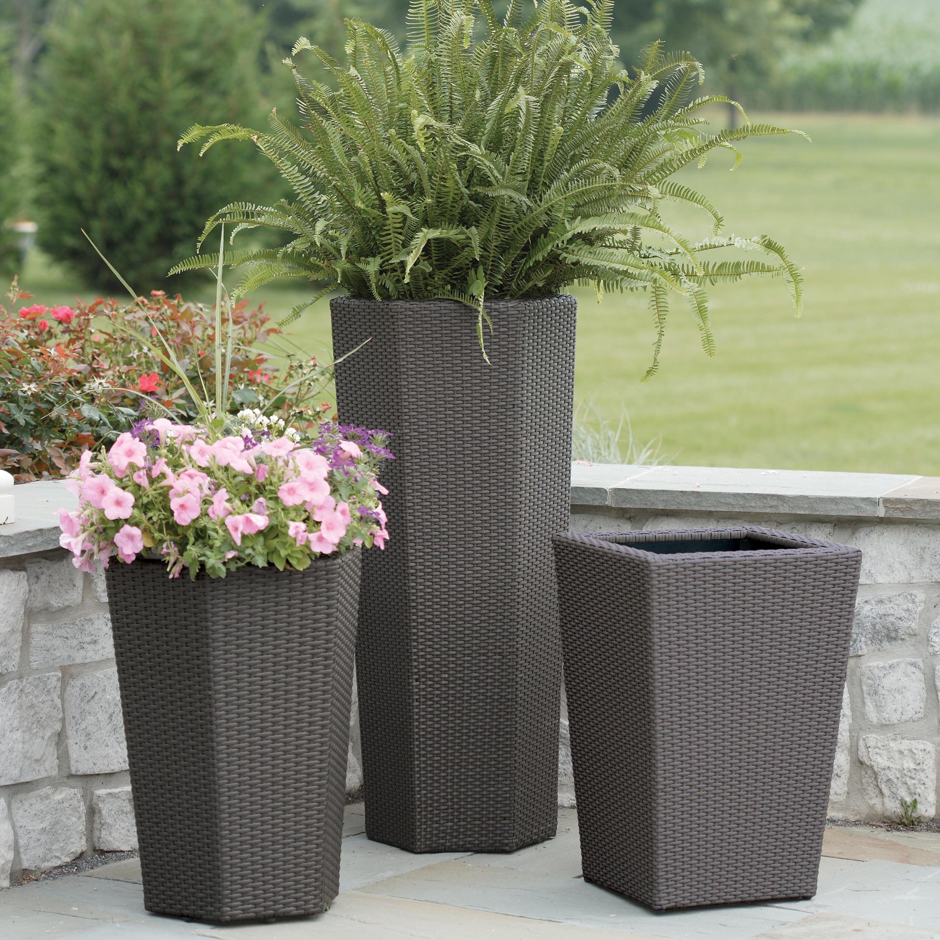 Resin Wicker Vista Planter Outdoor Planters Garden Planters Pots Large Outdoor Planters