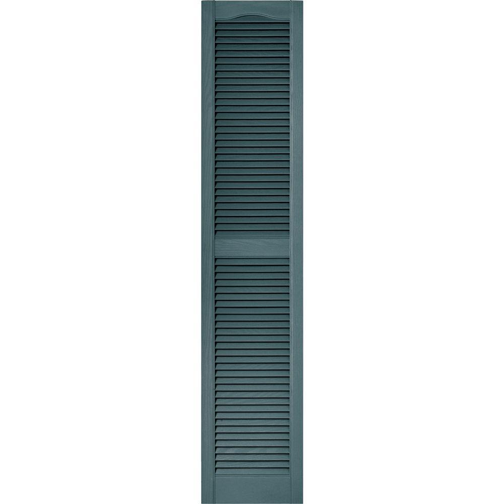 Builders Edge 15 In X 72 In Louvered Vinyl Exterior Shutters Pair In 004 Wedgewood Blue 010140072004 Wood Shutters Wood Grain Texture Louvered Shutters