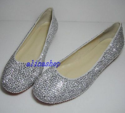 1b71212a6c1fe5 sliver diamond crystals flat shoes bling flat wedding by AlinaShop ...