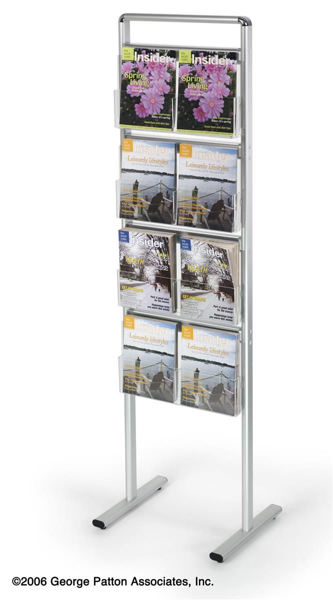 Exhibition Literature Stand : 4 tiered literature stand for floor with removable pocket dividers