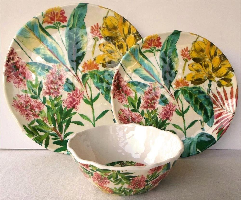 Melamine Dinnerware Set Dinner Plates Bowls Floral Wildflower 222 Fifth 12 Piece & Melamine Dinnerware Set Dinner Plates Bowls Floral Wildflower 222 ...