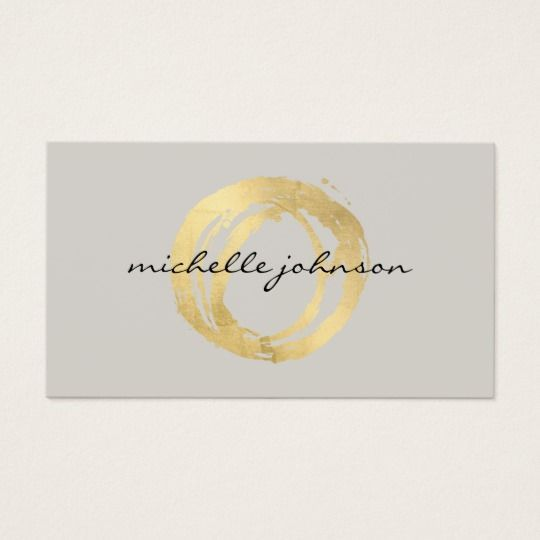 Luxe Faux Gold Painted Circle Designer Logo On Tan Business