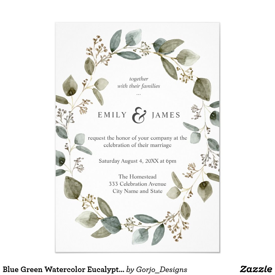 Blue green watercolor eucalyptus leaves wedding invitation