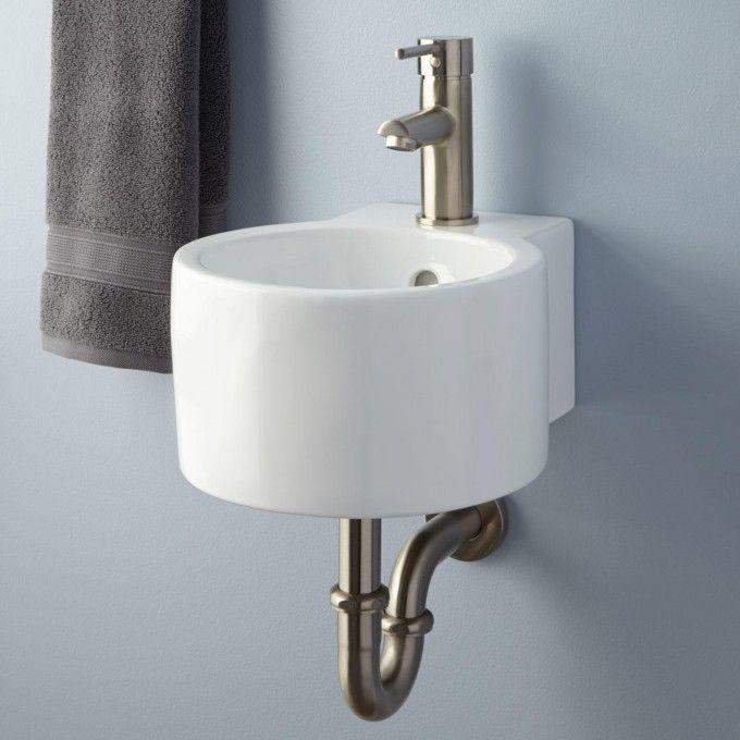 Corrie Mini Porcelain Wall Mount Bathroom Sink Wall Mounted Bathroom Sinks Wall Mounted Sink Sink