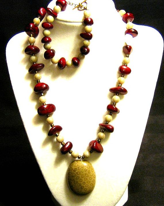 Fossilized Coral Pendant Necklace with Burgundy by SunCreations
