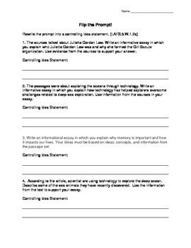 Flipping The Prompt Controlling Idea Statements Fsa Writing Writing Fsa Writing Controlling Ideas