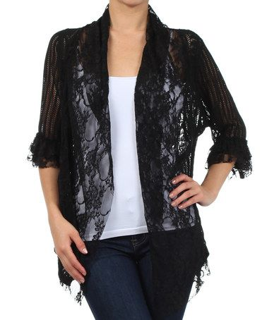 Loving this Black Lace Open Cardigan - Women on #zulily! #zulilyfinds