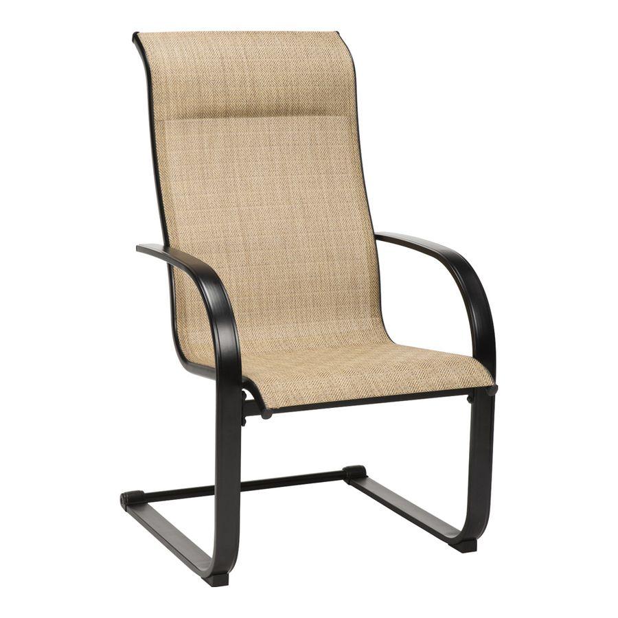 Garden Treasures Pelham Bay Set Of 6 Black Metal Spring Motion Dining Chair S With Tan Sling Seat Lowes Com Pelham Bay Metal Spring Dining Chairs