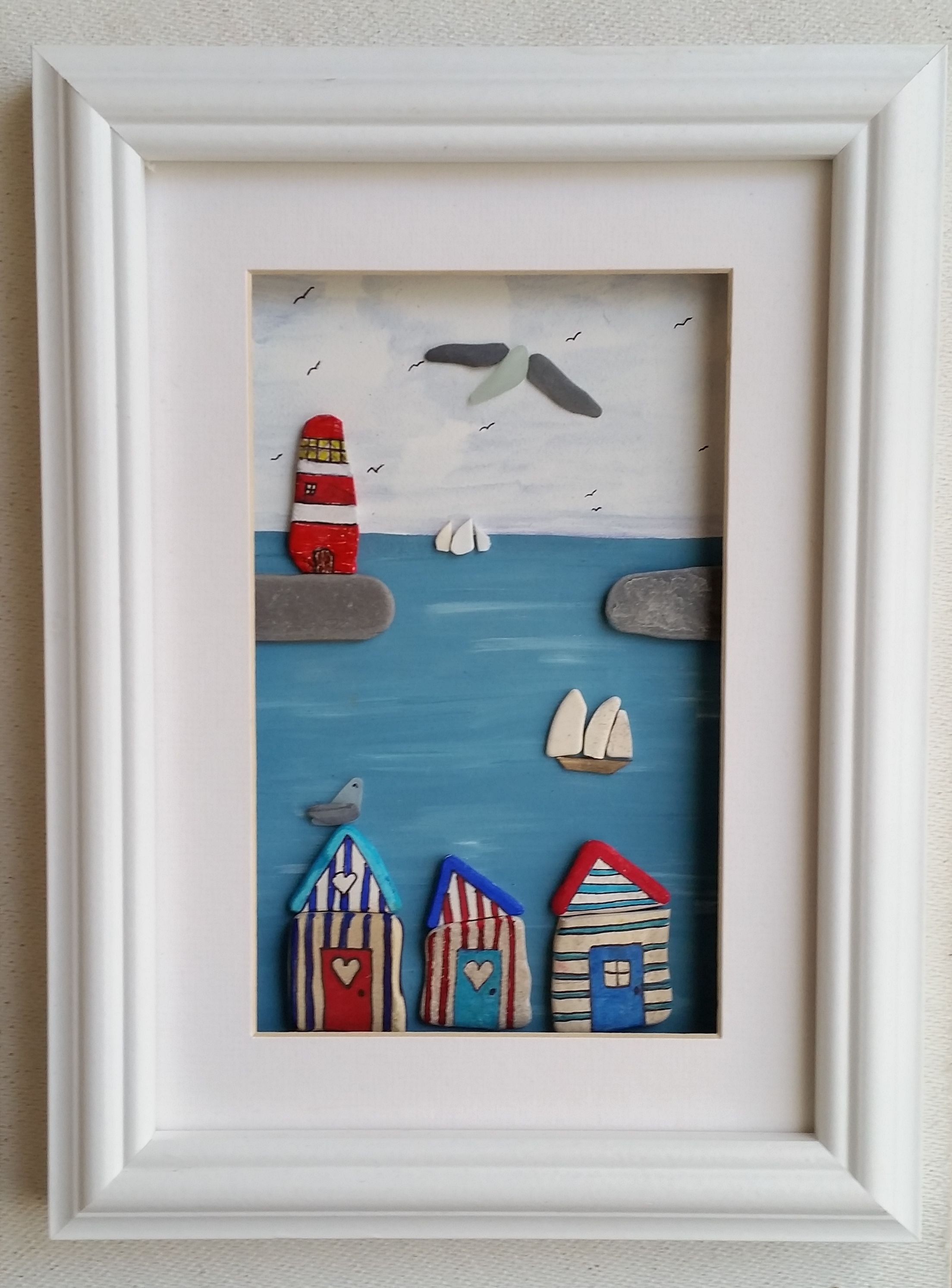 Beach huts and bunting quirky gifts sea pottery beach