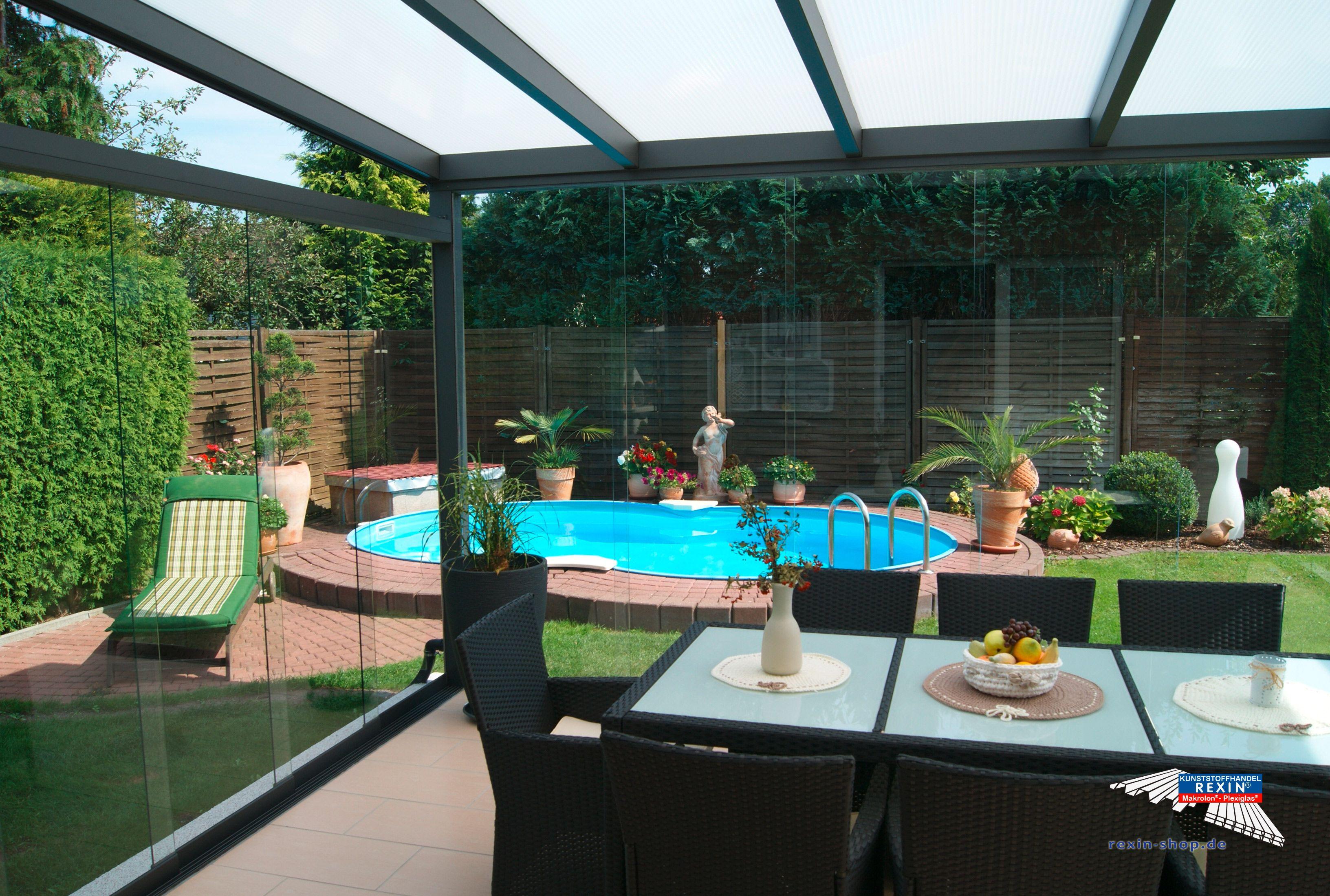 ein alu terrassendach der marke rexopremium 4 8m x 4m in anthrazit mit rexoclear stegplatten in. Black Bedroom Furniture Sets. Home Design Ideas