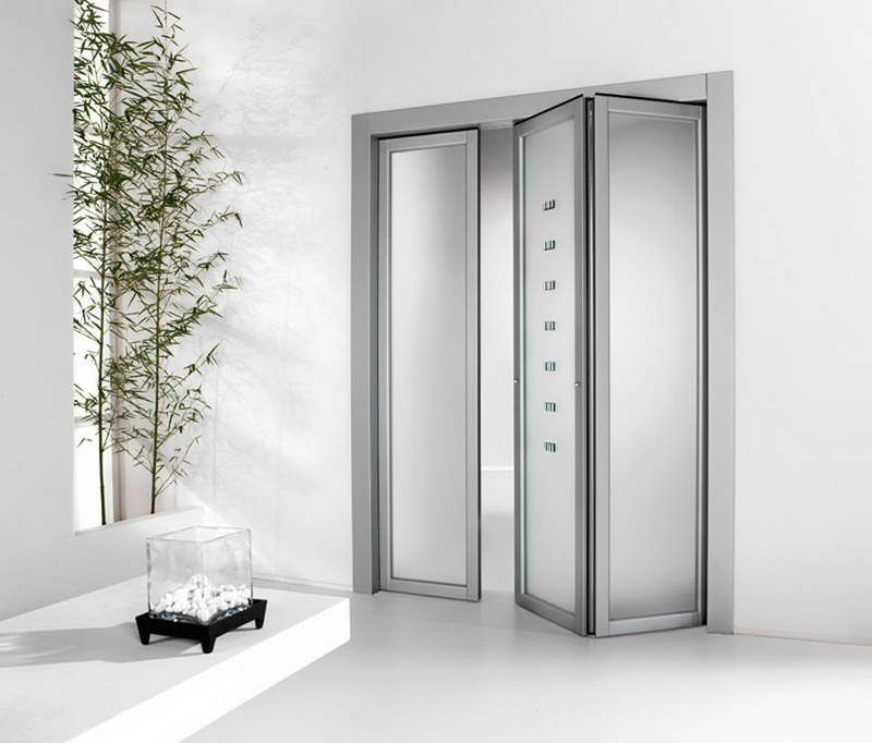 Exceptionnel Interior Accordion Doors With Frosted Glass And Aluminium Door Frame Design  Ideas.
