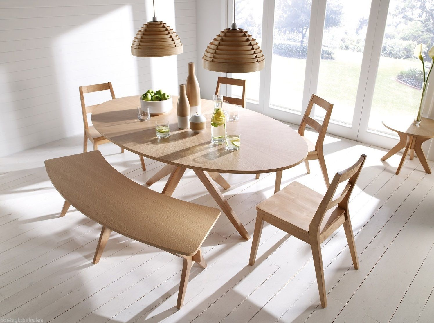 Wooden Dining Table Oak Kitchen Living Room Wood Rustic Oval