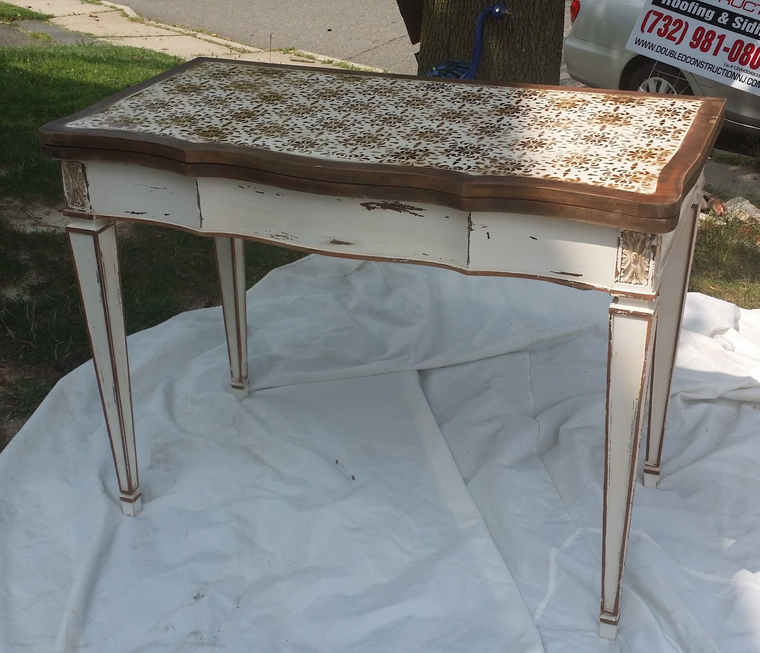 Refinished Vintage Leather Top Table   Distressed And Stenciled