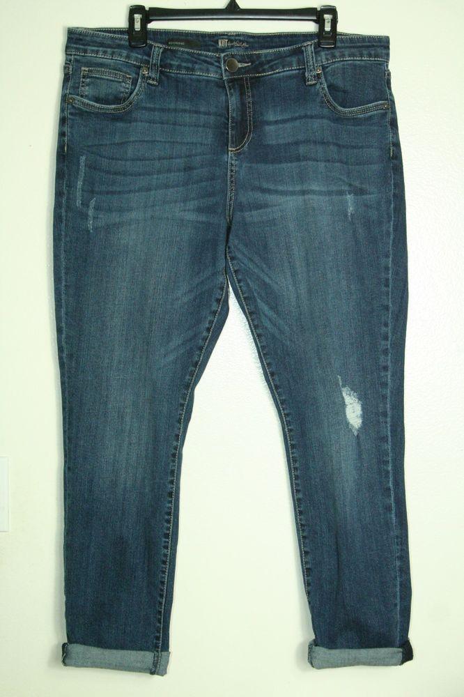 3e10bbe2e7f Womens Kut from the Kloth boyfriend jeans distressed stretch size 14W   KUTfromtheKloth