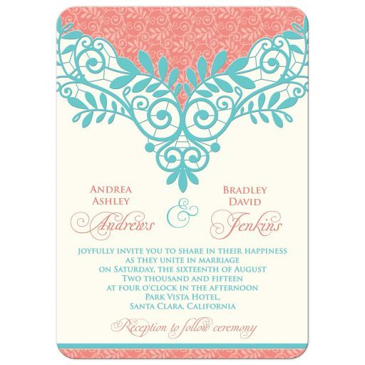 Wedding Invitation Vintage Lace Coral Turquoise Coral turquoise