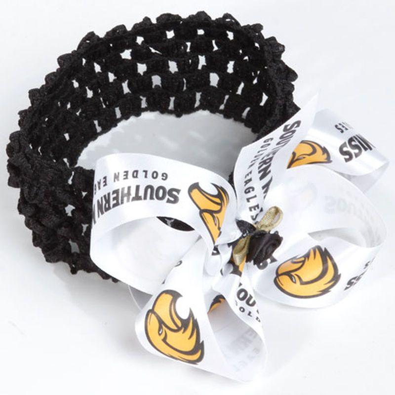 Southern Miss Golden Eagles Women's Satin Circle Bow Crochet Headband - Black