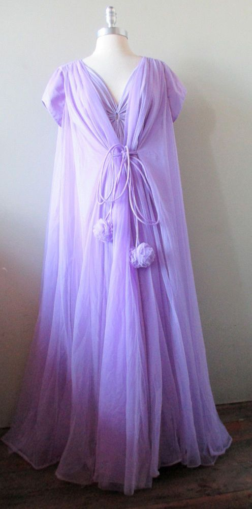 Vintage 60 s Claire Sandra by Lucie Ann Lavender nightgown and robe ... ff5008b8c