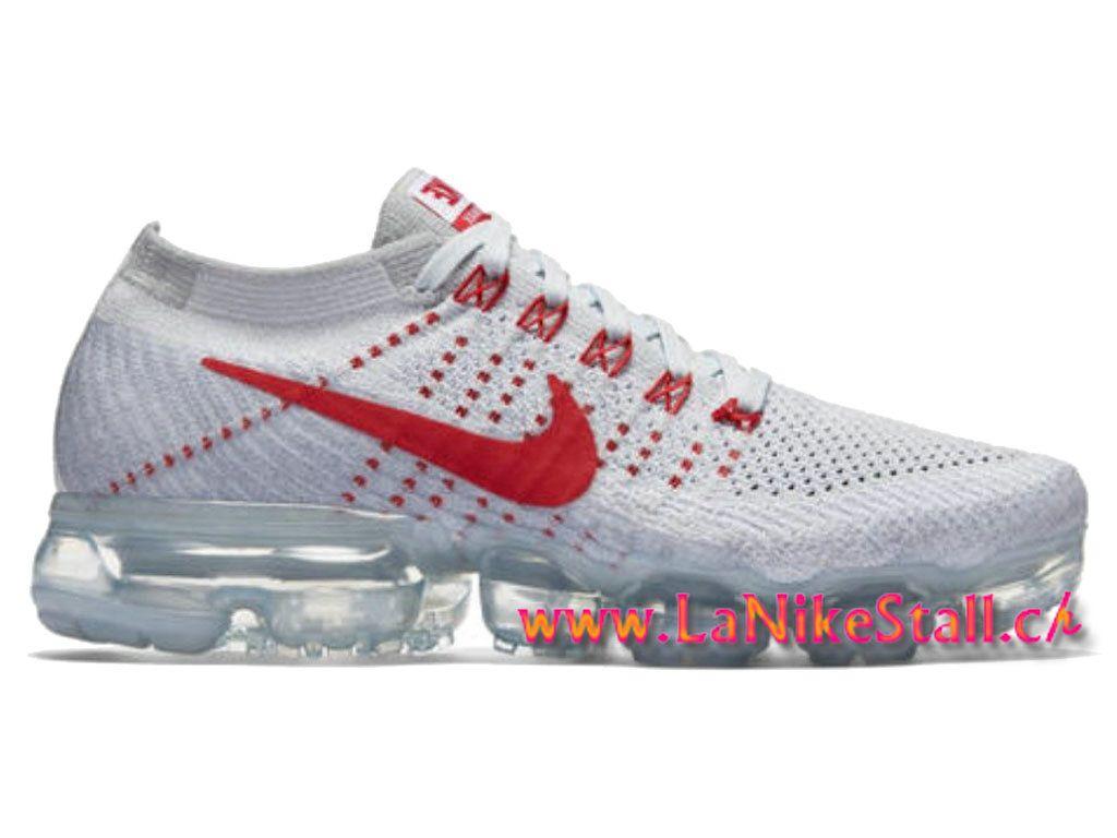 NikeLab Air VaporMax Flyknit Blanc Rouge Officiel Basket Pas Cher Chaussures  Pour Homme 849558-006