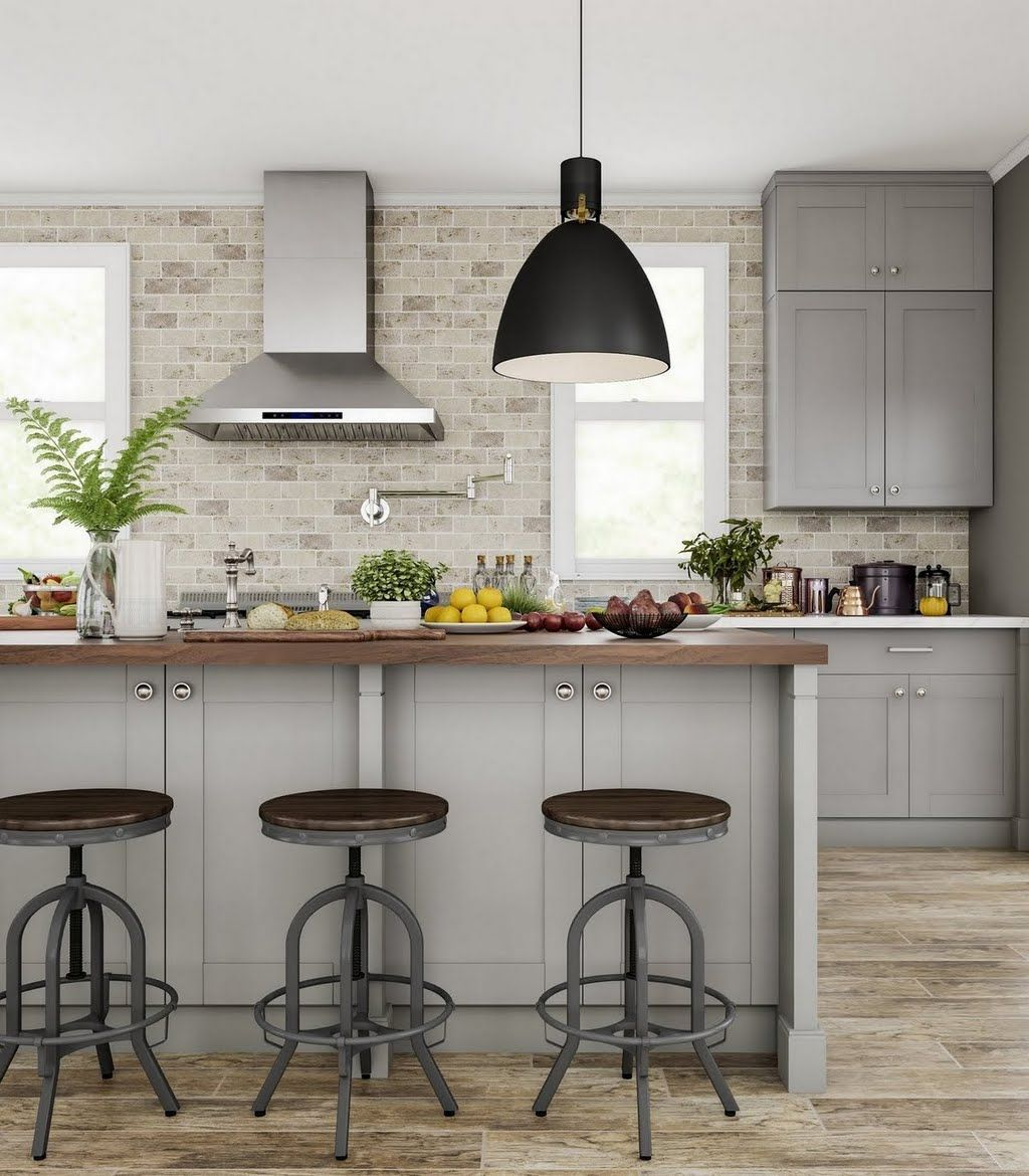 Traditional Kitchen In Beige And Silver Kitchen The Home Depot