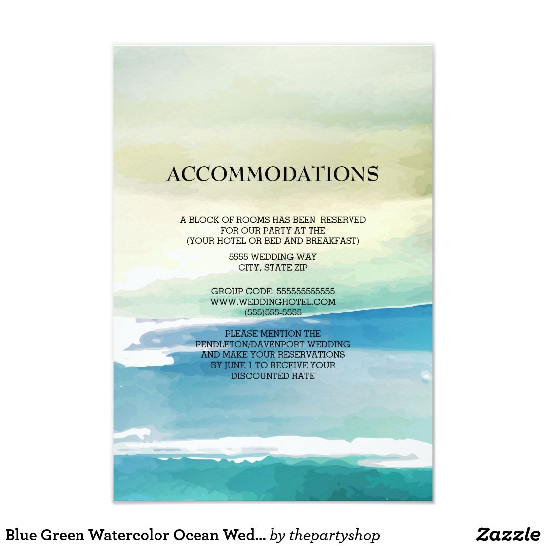 Blue And Green Watercolor Ocean Waves Wedding Accommodations