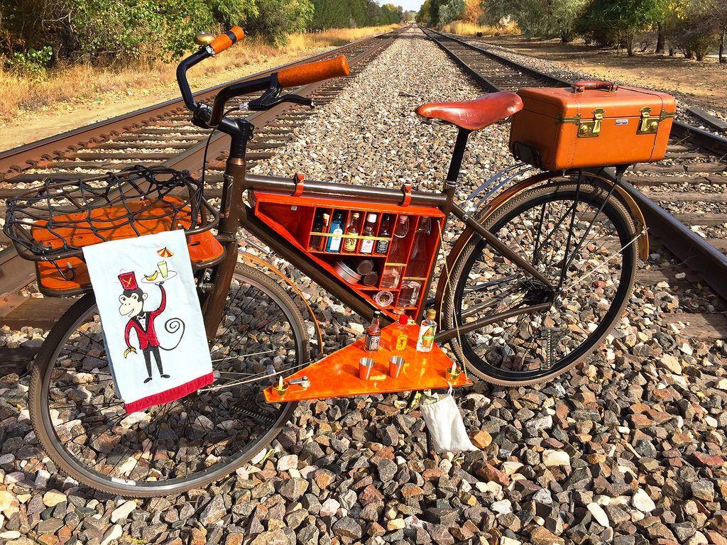 Cocktail Cruiser Bicycle Wooden Bike Bicycle Bar