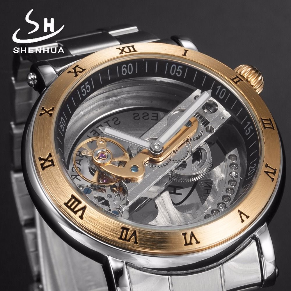fc1d0790977 Shenhua Luxury Hollow Full Stainless Steel Silver Power Automatic Watches  mens Transparent Mechanical Metal Watch Men Clock. Yesterday s price  US   134.99 ...