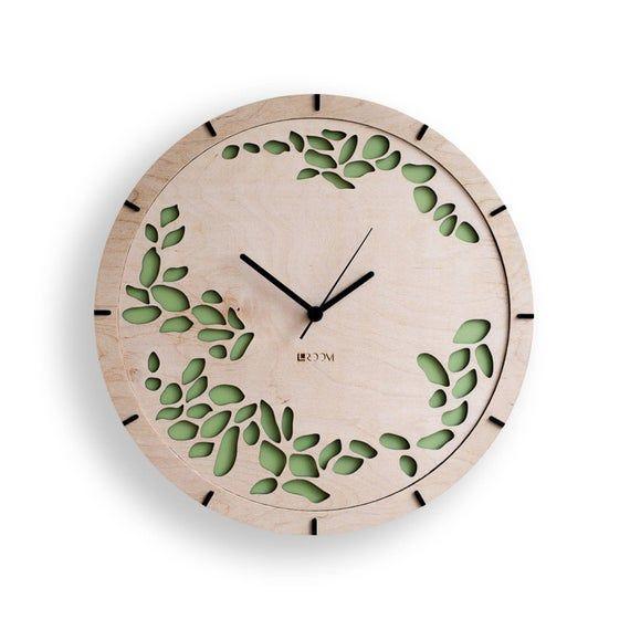 Modern Wall Clock Tree Leaves Large Wall Clock Image 1 Handmade Wall Clocks Wooden Clock Large Wall Clock Modern