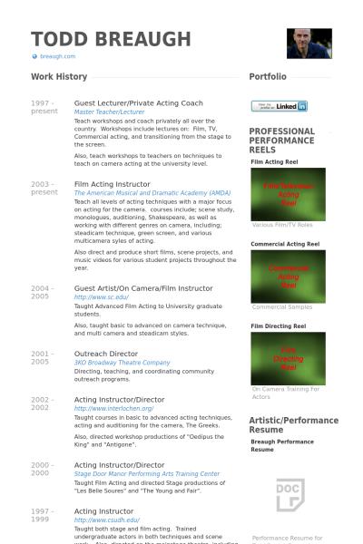 Creative Arts Portfolio Resume  Google Search  Arts Resume