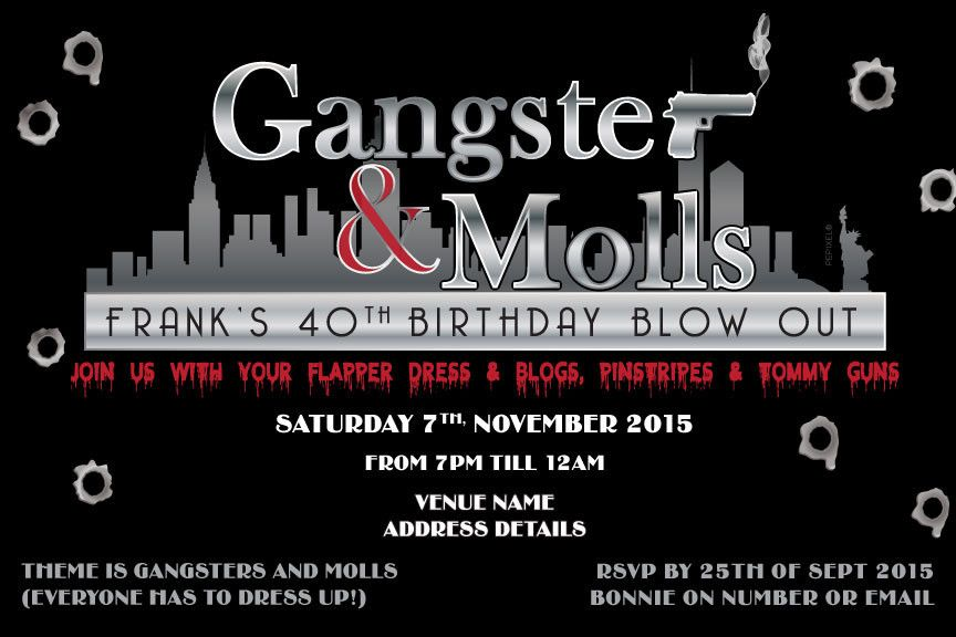 Mafia Digital Printable Invitation Template Gangster Moll – Gangster Party Invitations