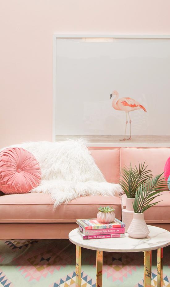 Flamingo Wall Art Art Pink Livingroom Interiordesign Interiordesignidea Wallart Pastel Interior Design Pink Living Room Pastel Interior #pink #decorations #for #living #room