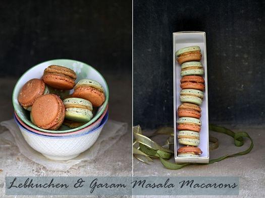 Lebkuchen and Garam Masala Macarons with a salted butter caramel buttercream