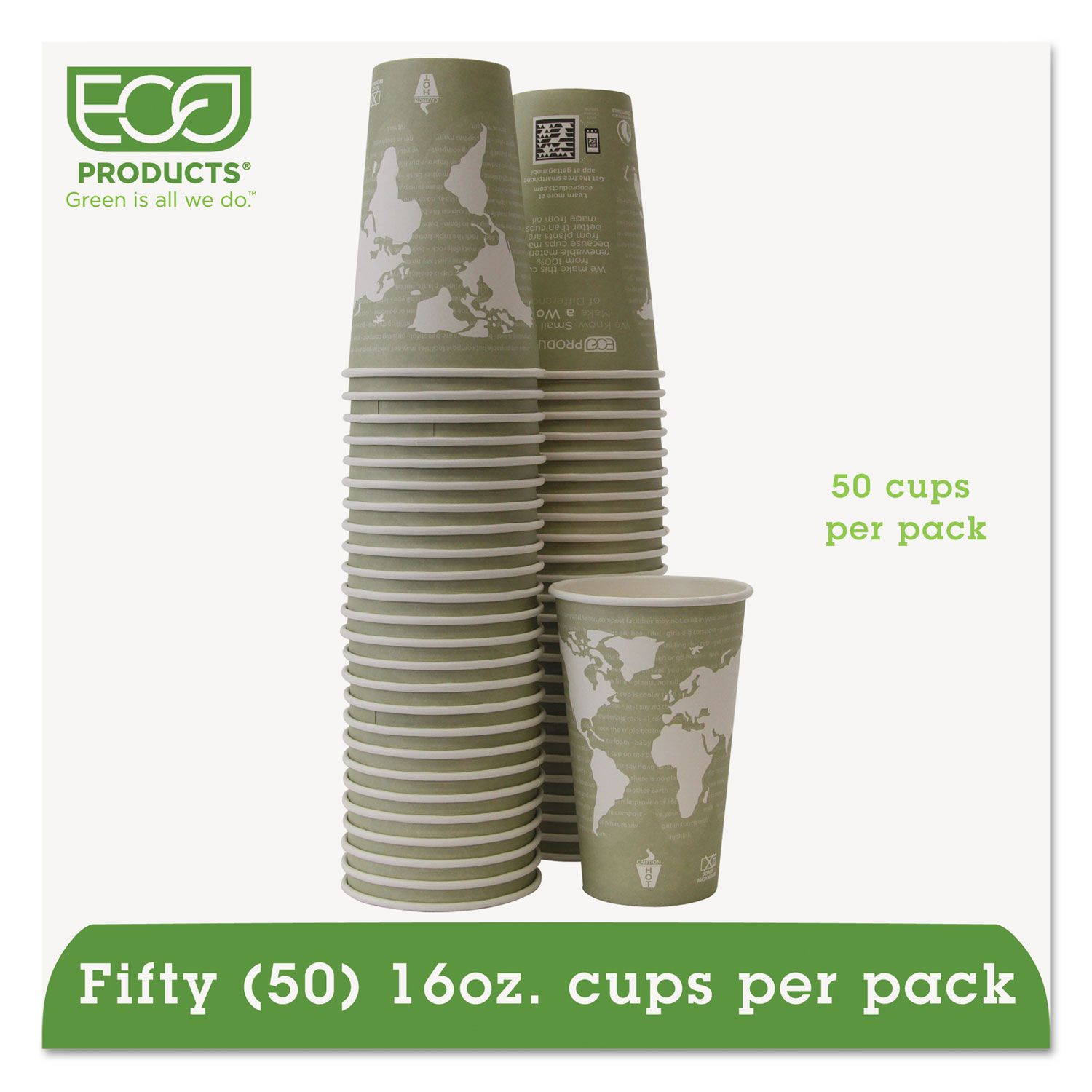 Eco Products World Art Renewable Compostable Hot Cups 16 Oz Moss 50 Pack World Art Renewable Resources Eco Friendly Paper