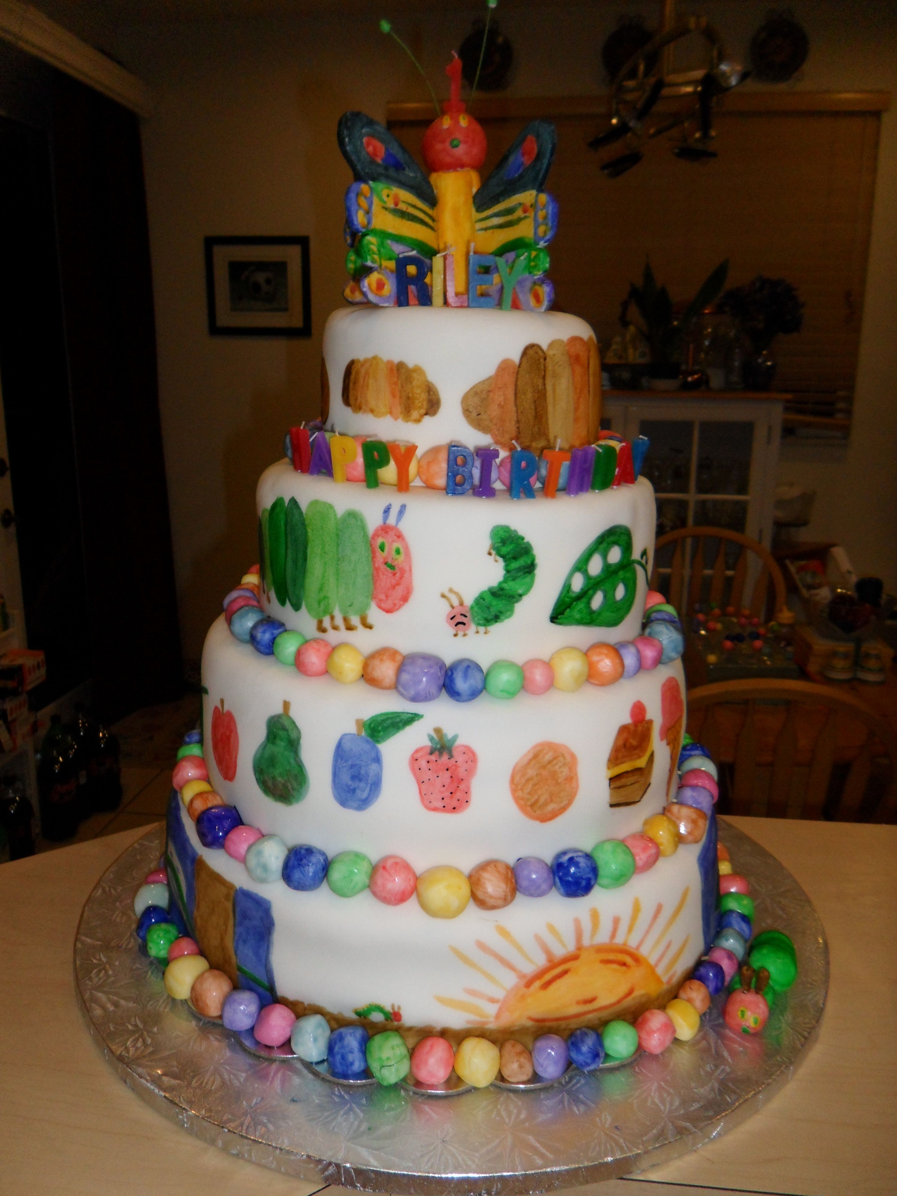 The Very Hungry Caterpillar Cake - (handpainted with food coloring ...