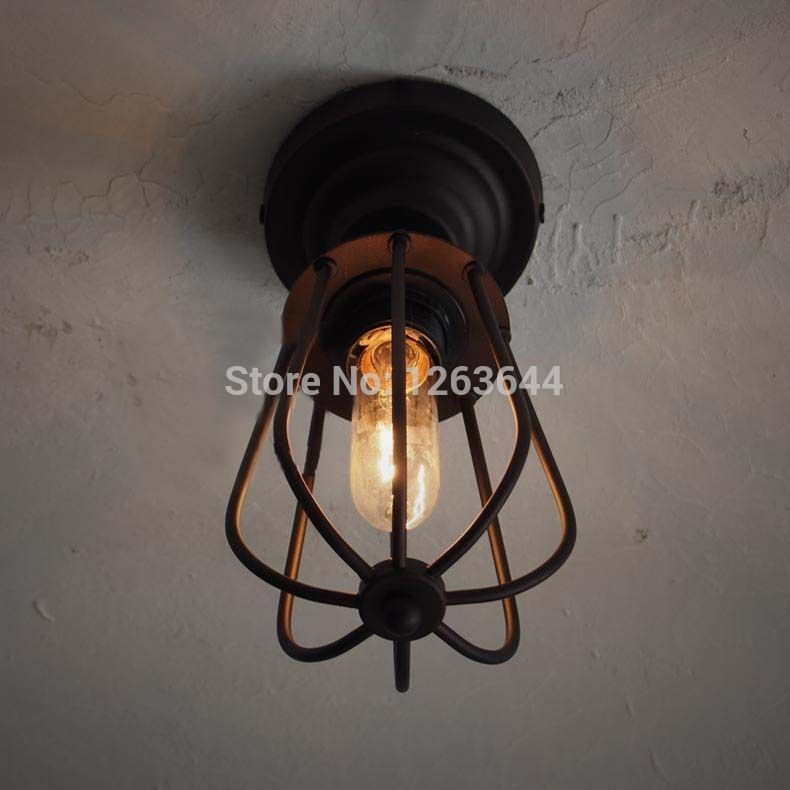 Europe Vintage Ceiling Lamp Iron Lantern Design Rustic Dinning Light - Surface mounted kitchen light fixtures