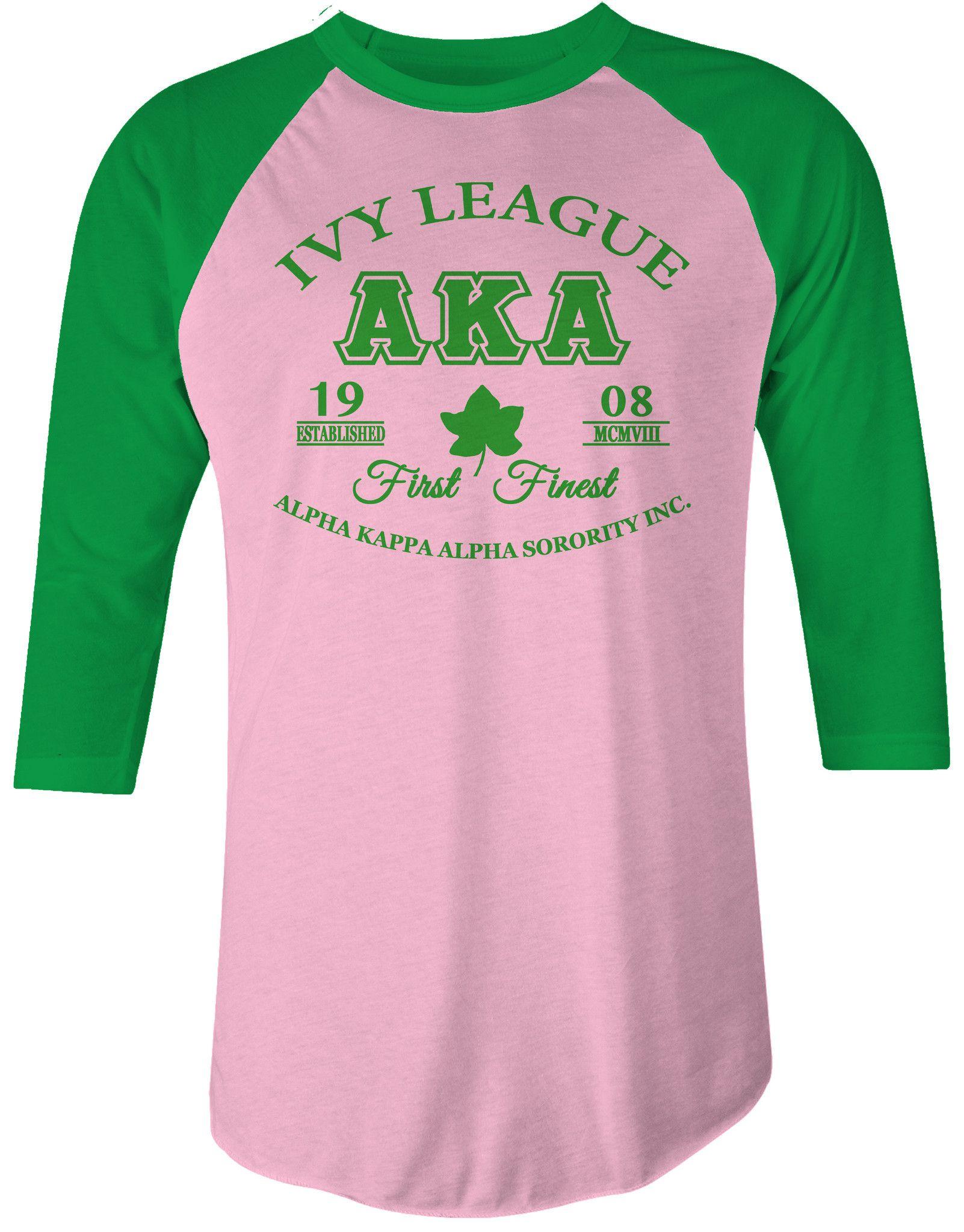 Aka Pink Green Raglan Ladies T Shirt Alpha Kappa