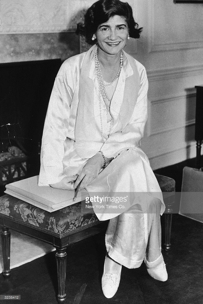 71fe4c8692d Portrait of French fashion designer Gabrielle  Coco  Chanel (1883 - 1971)  posing in her suite at the Hotel Pierre during her first visit to New York  City.