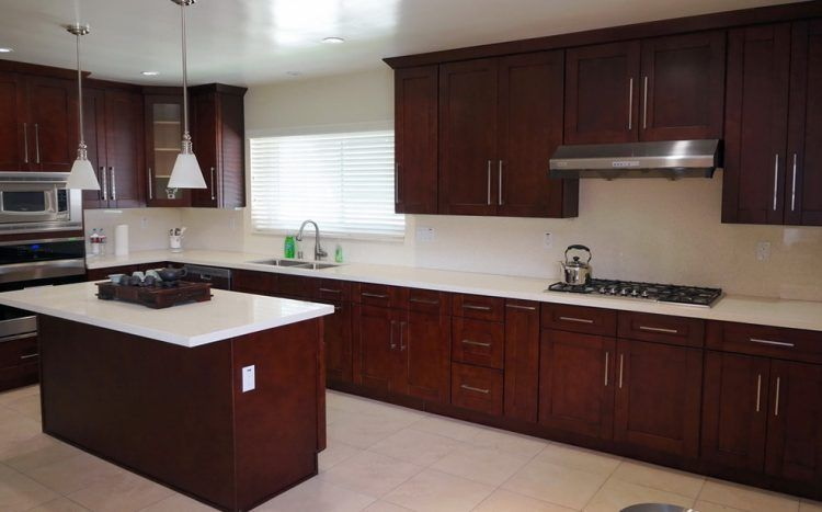 20 stunning kitchen design ideas with mahogany cabinets kitchen design white counters and Kitchen design mahogany cabinets