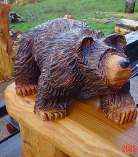 Bears chainsaw carving chain saw sculpture little