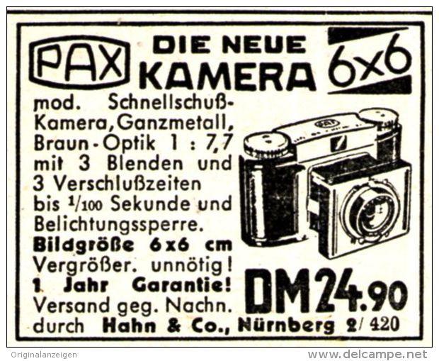 Original-Werbung/ Anzeige 1951 - PAX KAMERA - HAHN - NÜRNBERG - ca. 45 X 35 mm