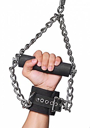 Handcuffs Lock Neck Handle Triangle Hand Neck Sleeve Black Leather Iron Chain Toy Handle