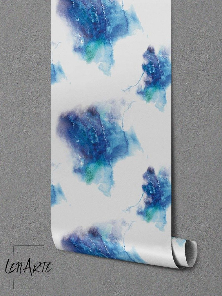 Cold Watercolor Stains Motif Wallpaper. Light Wall Mural