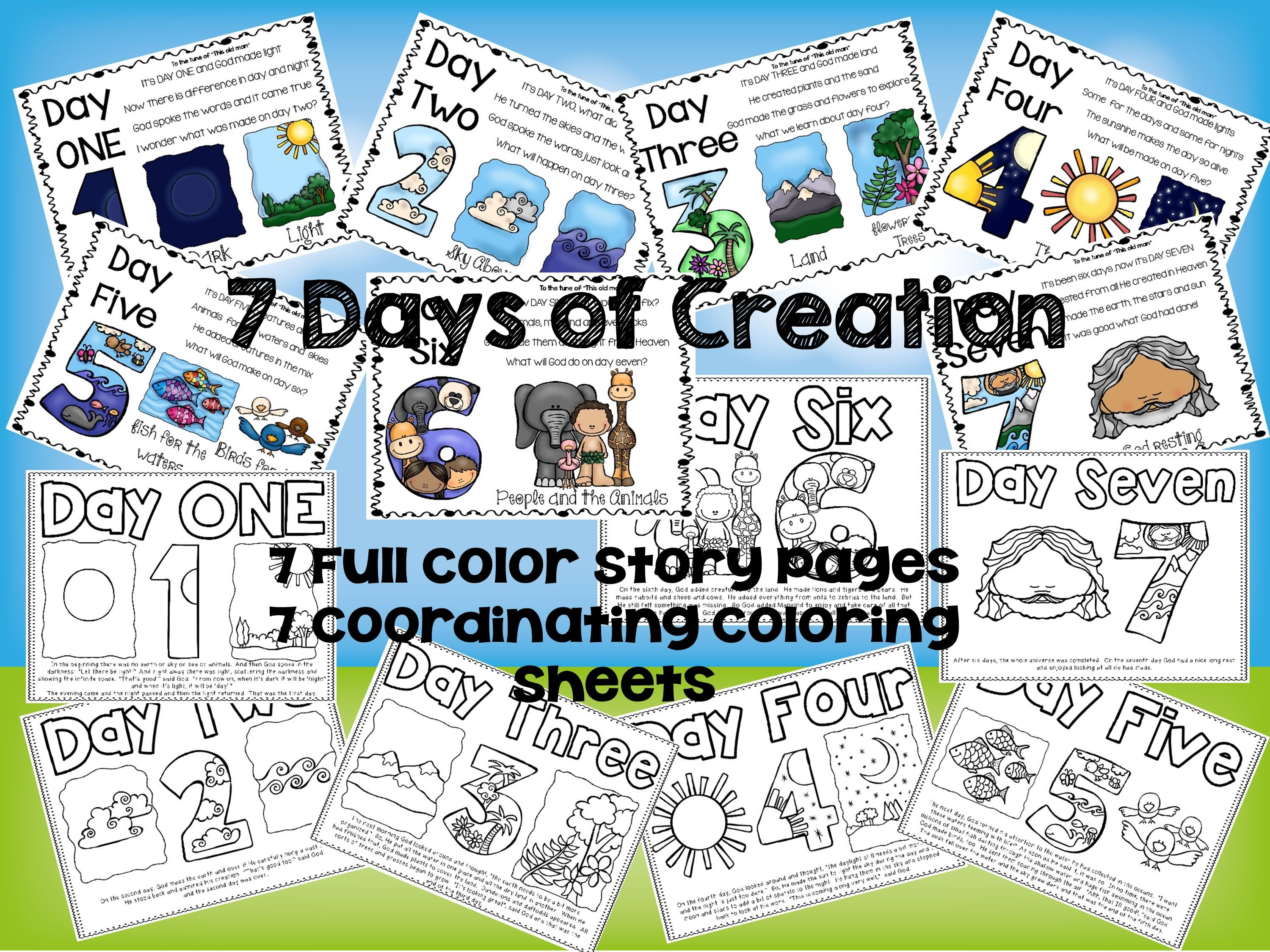 Free 7 days of creation story board and coordinating for 7 days of creation coloring pages