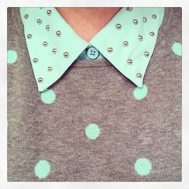 mint studded collar button up and Old Navy polka dot sweater