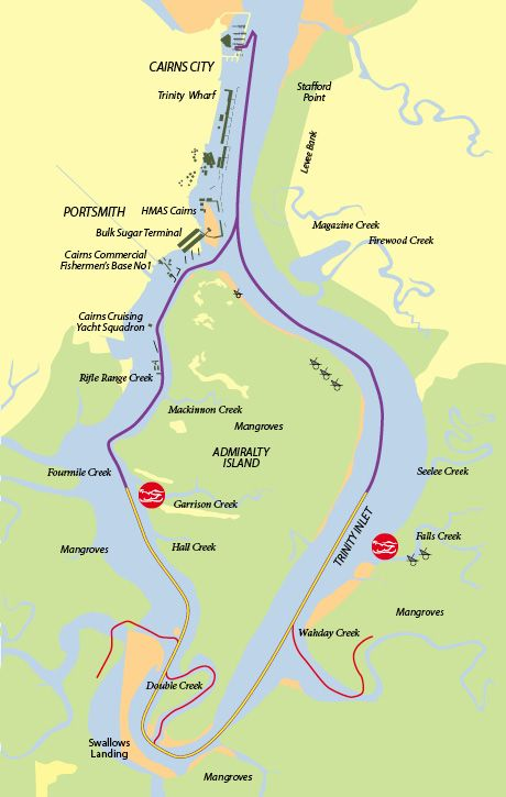 Map of Cairns Trinity Inlet.   My Trip to Cairns, Cooktown and Port ...