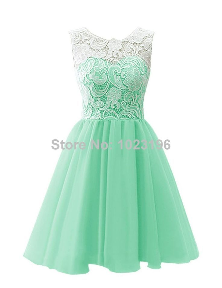 826412624 Encontrar Más Vestidos de Gala Información acerca de 2015 nuevo corto verde  menta encaje gasa vestido de fiesta de la cremallera con el botón de  regreso al ...