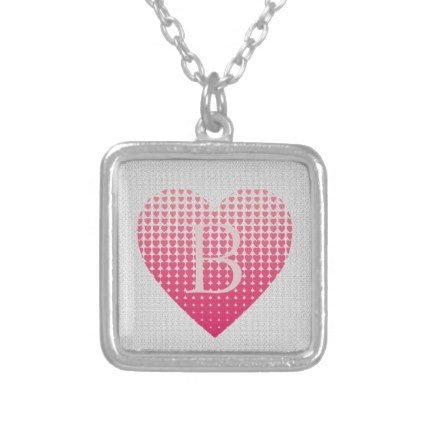 Little pink hearts personalized monogram silver plated necklace ...