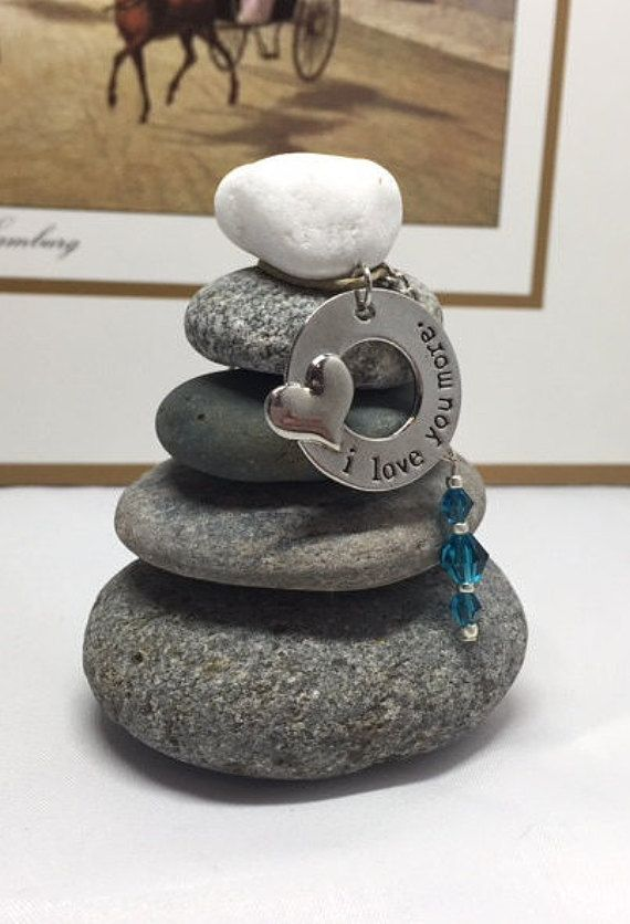 Love you More Rock Cairn Zen Garden Wishing by CedarwoodCreations