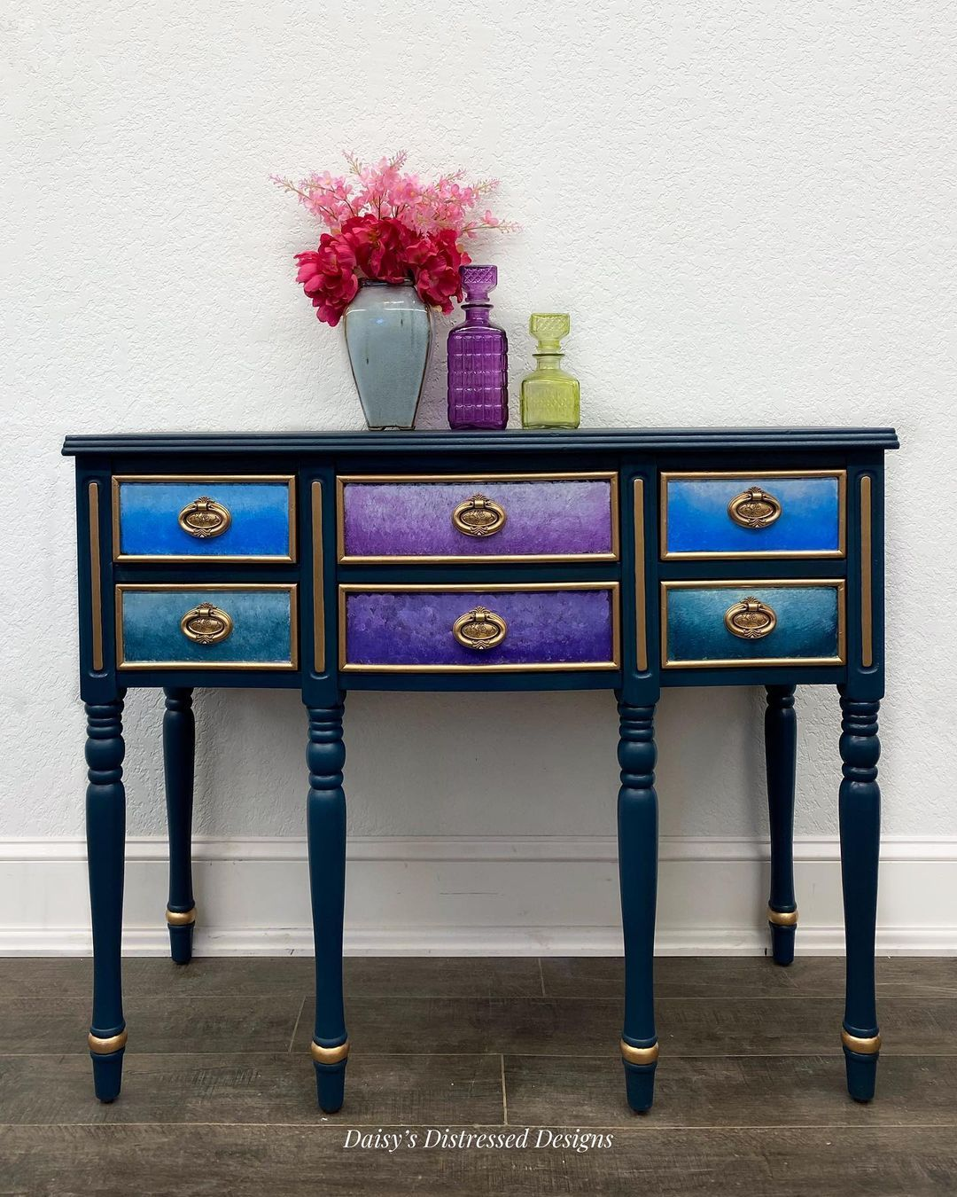 """Daisy's Distressed Designs on Instagram: """"My daughter and I just finished this gorgeous entry table. A custom for Sandy! #lovingthesecolors #colormovement #paintedwithlove"""""""