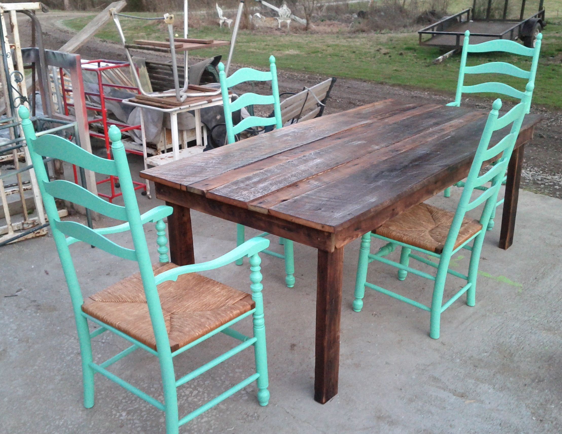 Mill Wood Chic Ranch Table and 4 Refurbished Ladder Back Chairs ...