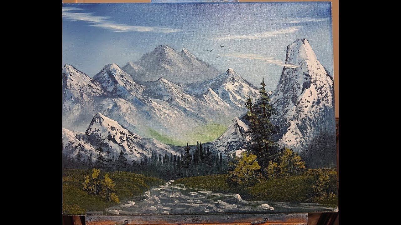 Mountains And More Mountains Wet On Wet Oil Painting Youtube Bob Ross Art Oil Painting Lessons Oil Painting